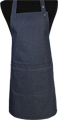 Detail foto van Halterschort voorzien van een verstelbare nekband d.m.v. drukkers. Zak dubbel opgestikt en in 2e gedeeld. Voorzien van rivetten. - Blue zilver
