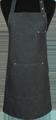 Detail foto van Halterschort voorzien van een verstelbare nekband d.m.v. drukkers. Met pennenzakje en zak dubbel gestikt met 2 steekzakken. Voorzien van rivetten. - Black zilver