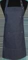 Detail foto van Halterschort voorzien van een verstelbare nekband d.m.v. drukkers. Met pennenzakje en zak dubbel gestikt met 2 steekzakken. Voorzien van rivetten. - Blue zilver