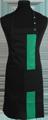 Detail foto van Halterschort met zak in 2e gedeeld en gekleurde baan van 8 cm breed met verstelbare nekband d.m.v. drukkers. - Groen