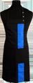 Detail foto van Halterschort met zak in 2e gedeeld en gekleurde baan van 8 cm breed met verstelbare nekband d.m.v. drukkers. - Kobalt