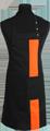 Detail foto van Halterschort met zak in 2e gedeeld en gekleurde baan van 8 cm breed met verstelbare nekband d.m.v. drukkers. - Oranje