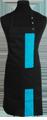 Detail foto van Halterschort met zak in 2e gedeeld en gekleurde baan van 8 cm breed met verstelbare nekband d.m.v. drukkers. - Turquiose