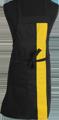 Detail foto van Halterschort met vaste nekband. Gekleurde band ca. 8 cm breed en enkel zakje ca. 20 x 20 cm met lange strikbanden. - Geel