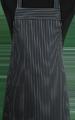 Detail foto van Hobbyschort zonder zak extra breed en 100 cm lang met extra lange banden zodat het schort voor gestrikt kan worden. - Krijtstreep smal