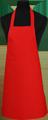 Detail foto van Hobbyschort zonder zak extra breed en 100 cm lang met extra lange banden zodat het schort voor gestrikt kan worden. - Rood