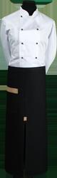 Paspop foto van Zwarte sloof met loopsplit en gekleurde zak