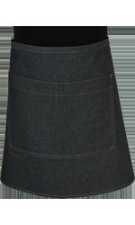 Paspop foto van Een korte sloof waarvan de zak dubbel is opgestikt en in het midden doorgestikt. Voorzien van rivetten.