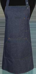 Paspop foto van Halterschort voorzien van een verstelbare nekband d.m.v. drukkers. Met pennenzakje en zak dubbel gestikt met 2 steekzakken. Voorzien van rivetten.
