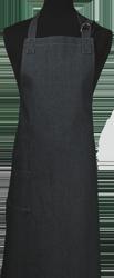 Paspop foto van Jeansschort met dubbele zak en voorzien van ringen zodat de nekband verstelbaar is.