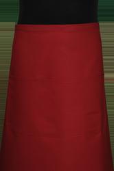Paspop foto van Kok sloof extra breed met zak in 3e gedeeld. Achter geheel sluitend.