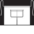 Modeltekening van Een loopsplitsloof met een overlappende split. De zak is dubbel opgestikt en in 2e gedeeld. Voorzien van rivetten.