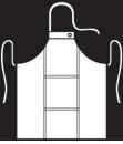Modeltekening van Halterschort voorzien van 2 locknaden met zak ertussen. Dubbel doorgestikt. Extra lange strikbanden. Verstelbare nekband d.m.v. drukkers.