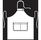 Modeltekening van Halterschort voorzien van een dubbel opgestikte zak met rivetten en een verstelbare nekband d.m.v. drukkers. Extra lange strikbanden waardoor het schort voor gestrikt kan worden.